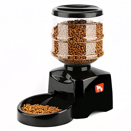 OUTAD 5.5L Automatic Pet Feeder with Voice Message Recording and LCD Screen Large Smart Dogs Cats Food Bowl Dispenser (black)