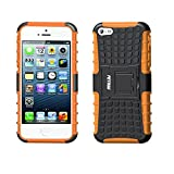 iPhone SE Case,iPhone 5S Case,Apple iPhone 5 Case,Fetrim Heavy Duty Armor Rugged Dual Layer Hybrid Shockproof TPU Case Protective Cover for Apple iPhone 5 5S SE with Built-in Kickstand (Orange)