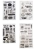 4 Sheets Different Style Love and Birthday Wishs Clear Stamps for Card Making Decoration and Scrapbooking(Love Phrases)