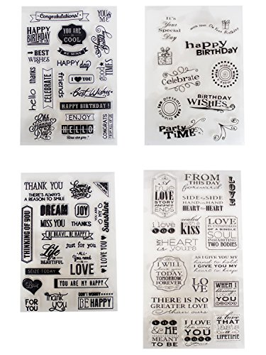 4 Sheets Different Style Love and Birthday Wishs Clear Stamps for Card Making Decoration and Scrapbooking(Love Phrases) by B-Sin