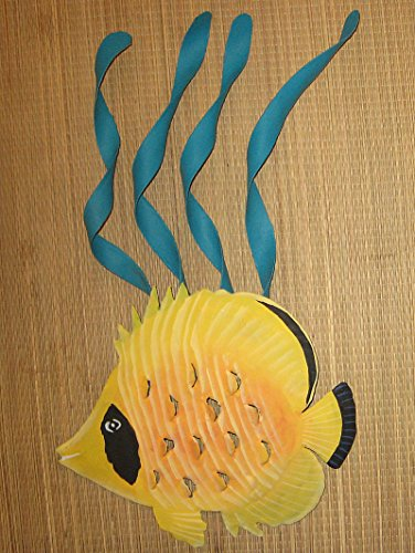 Hand Painted Metal Art Butterfly Fish and 4 Sealeafs Wall Sculpture