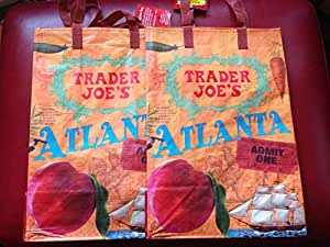2-ATLANTA Theme Trader Joes bags reusable shopping grocery tote eco-SET of 2 nwt