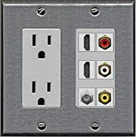 RiteAV - 2 x 15 Amp 125V Power Outlet 3 x RCA - 2 X HDMI and 1 x Coax Cable TV Port Wall Plate - Stainless/Gray