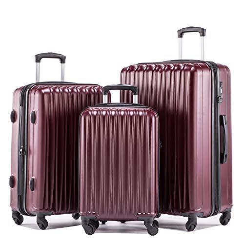 (Expandable Luggage Sets Hardshell Spinner Luggage with TSA lock Lightweight Suitcase Set 3pcs including 20inch Carry On 24inch 28inch(Bordeaux))