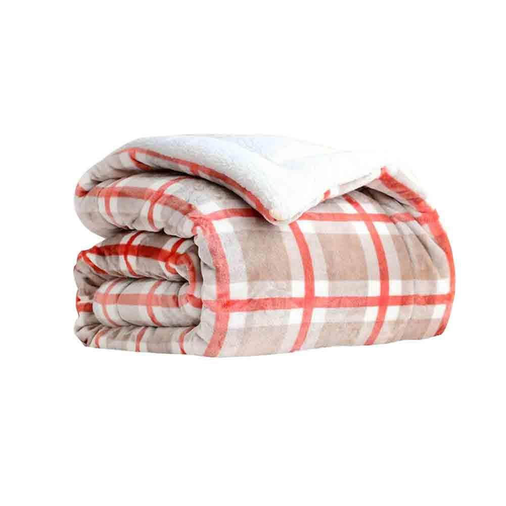 YCSD ラグジュアリーなチェック柄暖かい毛布、3層キルトパットベッドキルト、リバーシブルダブルブランケット、200 X 230 Cm (色 : Pink, サイズ さいず : 220x240cm) B07MQJFKTK Pink 220x240cm