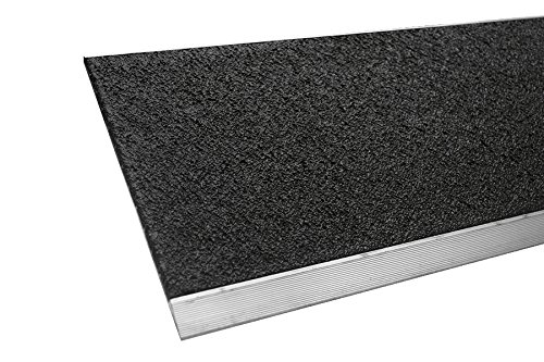 MASTER STOP 435PS10036019 Flat Safety Plate, Color Black, 1'' height, 3.5'' depth, 36'' length, Extruded aluminum, mineral abrasive anti-slip surface