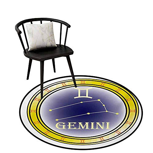 Round Area Rugs Living Room Carpet Zodiac Gemini,Circle with Symbols and Constellation Destiny and Stars Theme,Navy Blue Yellow Orange,Rug Accent Mat for Livingroom Diningroom Bedroom 20