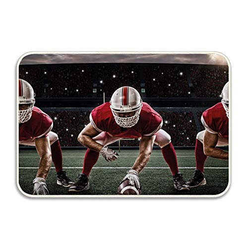 (Library design Doormat Novelty Welcome Floor Mat Large 16 in. x 24 in.Sports Team Players on Scrimmage Line Stadium Arena Tackle Touchdown)