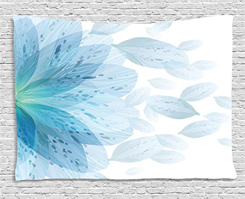 Ambesonne Floral Tapestry by, Round Pattern of Blue Flower Petals Spring Season Nature Theme Artwork, Wall Hanging for Bedroom Living Room Dorm, 60WX40L Inches, Light Blue and - Art Light Blue