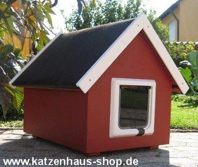 Gato Caseta/Gato Impermeable para Exterior con gato Tapa, machimbre, color Schwedenrot: Amazon.es: Productos para mascotas