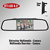 Genius G-VPS01-RC43SS TFT LCD Car Rearview Mirror Monitor 4.3'' Kit with Camera Click Style