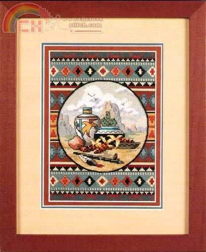 Zamtac Gold Collection Lovely Counted Cross Stitch Kit Southwest Blend Still Life Pot Eagle Mountain Cactus Cacti dim 06738 6738 - (Cross Stitch Fabric CT Number: 14CT unprint Canvas)