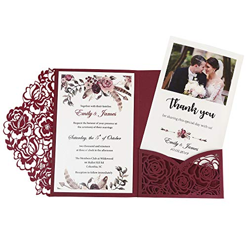 Doris Home wedding invitations with envelopes for Bridal Shower Invitations, Dinner Invitations, CW0008 (Burgundy, 50pcs Blank)