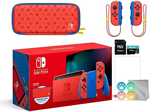 Mytrix 2021 New Switch Mario Red & Blue Limited Edition with Mario Iconography Carrying Case and Screen Protector Bundle Accessories