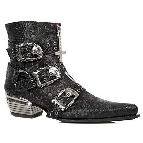 New M Cuero Punk Botines Cowboy Negro Rock Heavy Botas Piel Hombre wst062 Gotico Mujer s1 Unisex Tacón r5vrxXwO