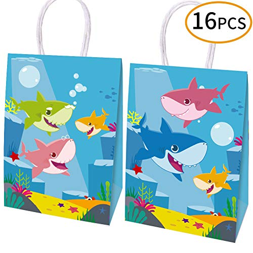 Yizeda 16 Packs Happy Shark Family Party Bags,Treat,Candy and Goodie Bags,Shark Gift Bags Party Supplies for Kids Cute Shark Themed Party, Birthday Decoration Gift -