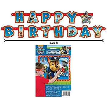 Paw Patrol Happy Birthday Banner and Party Game for 16 by BT