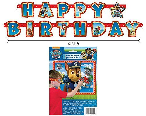 (Paw Patrol Happy Birthday Banner and Party Game for 16 by)