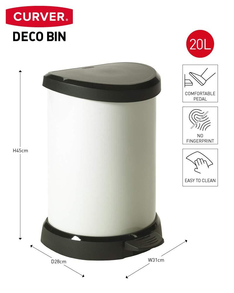 CURVER - Cubo de Basura Decorativo con Pedal, 20 l, Color Crema ...