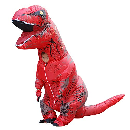 Inflatable Dinosaur Costume Dance (Bin Tyrannosaurus Dinosaurs Sumo Inflatable Clothing Halloween Cosplay Funny Dance Props 3 Colors Available (red))