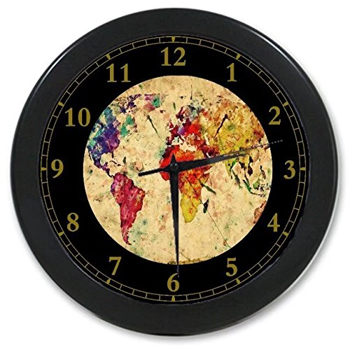World map clock design buy world map clock design products online world map custom wall clock quartz 965 home office decor gifts gumiabroncs Gallery