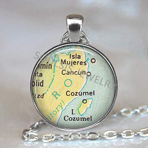 - 2018 New Globe Dome Necklace Earth World Map Pendant Glass Chain Jewelry Venezuela Vintage Map Handmade Necklace