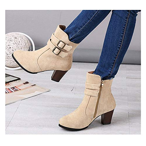 Hemlock Ankle Boots Women,Ladies Winter Dress Boots Zipper High Heels Booties Shoes Pointed Top Boots (US:8.5, Beige) (Womens Ankle Dress Boots)