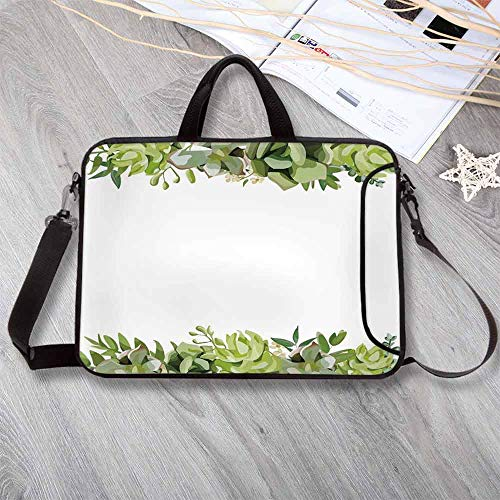 Succulent Waterproof Neoprene Laptop Bag,Cactus Flower Garden Green Fern Seasonal Branch and Leaves Frame Borders Decorative Laptop Bag for Business Casual or School,12.6