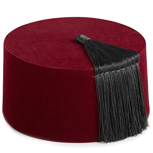 Funny Party Hats Fez Hat - Moroccan Fez Hat - Turkish Hat with Tassel (Maroon Fez Hat with Tassel) ()