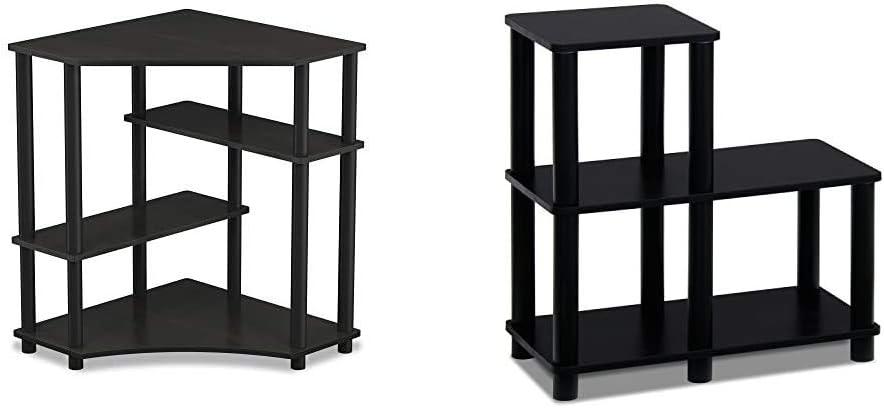 FURINNO Turn-N-Tube Space Saving, Corner Desk, Espresso/Black & Turn-N-Tube Accent Decorative Shelf, Espresso/Black