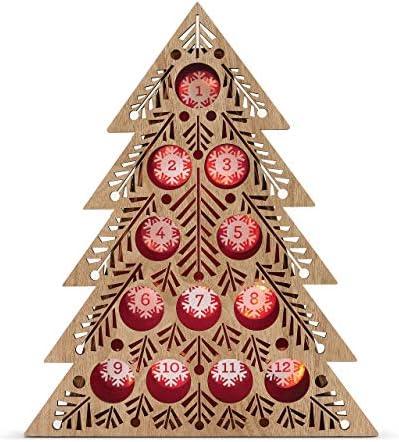 [해외]DEMDACO Lit Coffee Pod Countdown Tree Natural Brown 18 x 14 Wood Holiday Advent Calendar / DEMDACO Lit Coffee Pod Countdown Tree Natural Brown 18 x 14 Wood Holiday Advent Calendar