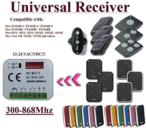 Universal Compatible with Nice 433,92Mhz FLOR-S, FLORE, ON, ONE, INTI, VR remote controls. 2-channel Rolling Fixed code 300Mhz-868Mhz 12 - 24 VAC/DC receiver.