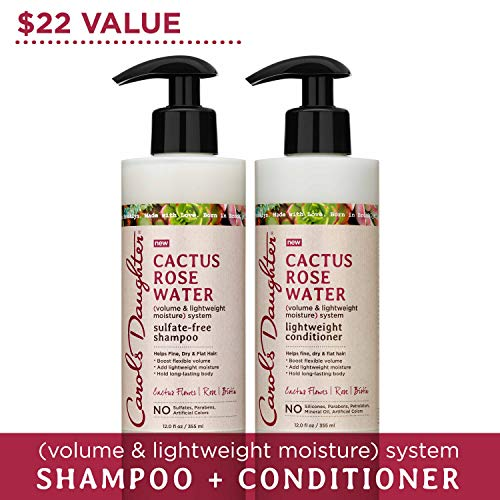 Carol's Daughter Cactus Rose Water Sulfate Free Shampoo and Conditioner Set For Fine Hair, Dry Hair, Flat Hair, with Cactus Flower Extract, Rose Water, and Biotin, Paraben Free