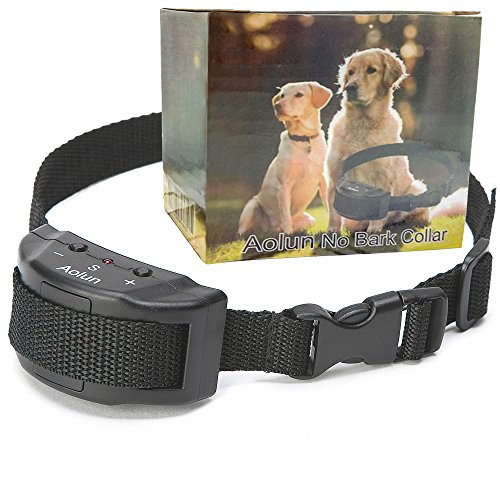 Aolun No Bark Shock Dog Collar with 7 Sensitivity Levels-No Harm, No Pain Vibration, Adjustable Buckles for Small, Medium & Large Dogs-Prevent Barking, Ensure Good Behavior & Facilitate Training