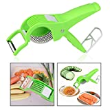 OFKP 2 in 1 Multi-Functional Kitchen Scissors, Salad Cutter Scissors with Stainless Steel Blade for Vegetable, Salad Making, Cooking (Green)