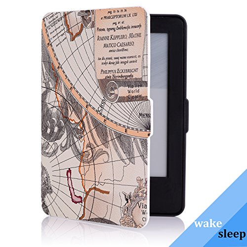 MoKo Case for Amazon Kindle 7th Gen - Ultra Lightweight Shell Case Stand Cover Case for Amazon Kindle 2014 ( 7th Generation ), Map A by MoKo (Image #4)'