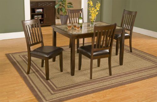 Alpine Furniture Capitola Faux Marble 5 Piece Dining Table Set - Espresso