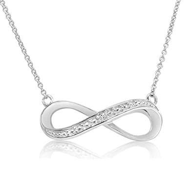 db510e4b2fd79 Amazon.com  Sterling Silver Diamond Accent 18 inch Infinity Necklace  Pendant  Necklaces  Jewelry