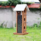 SEEYANG Wooden House Wild Bird Feeder Squirrel Proof Bird Feeder for Outside Inside Yard Garden Tree
