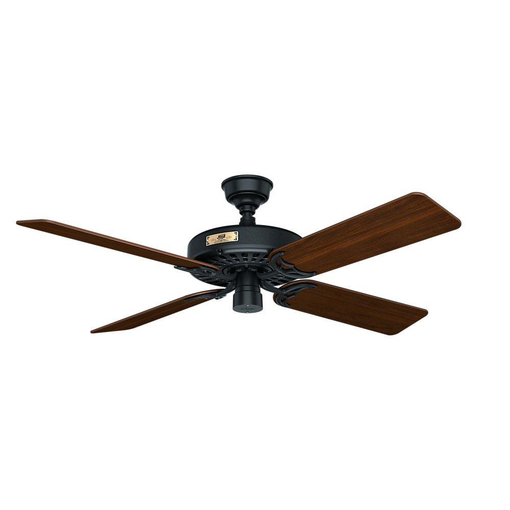 Hunter 23838 original 52 black ceiling fan with five walnutcherry hunter 23838 original 52 black ceiling fan with five walnutcherry reversible blades amazon mozeypictures Gallery