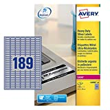 Avery L6008-20 Extra-Strong Adhesive Heavy Duty Labels, 189 Labels Per A4 Sheet - Silver