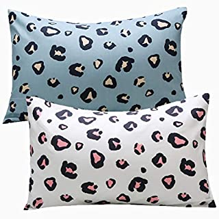 UOMNY Kids Toddler Pillowcases 2 Pack 100% Cotton Pillow Cover Pillowslip Case Fits Pillows sizesd 13 x 18 for Kids Bedding Pillow Cover Baby Pillow Cases Leopard Pink/Blue Kids' Pillowcases