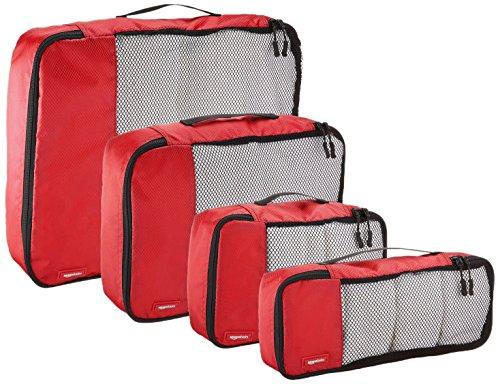 -[ AmazonBasics Packing Cubes - Small, Medium, Large, and Slim (4-Piece Set), Red  ]-