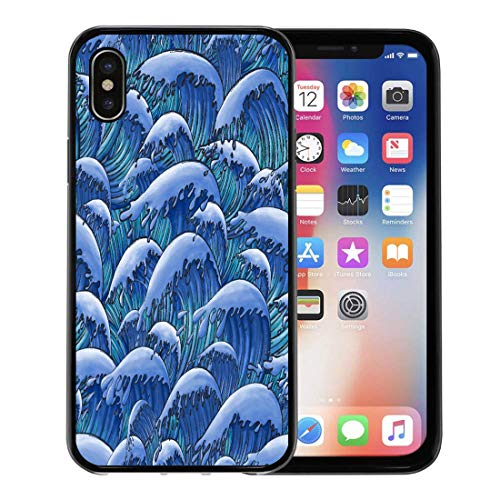 (Emvency Phone Case for Apple iPhone Xs Case/iPhone X Case,Asian Blue Antique Oriental Japanese Great Wave in Vintage Soft Rubber Border Decorative, Black)