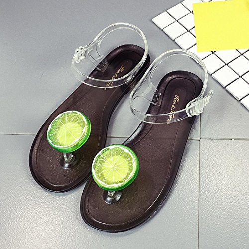 DEESEE(TM) Women Fruit Flip flops Sandals Shoes Girls Plate Flip Flop Beach Sandals Lemon Black 2 KmcKw6wBk