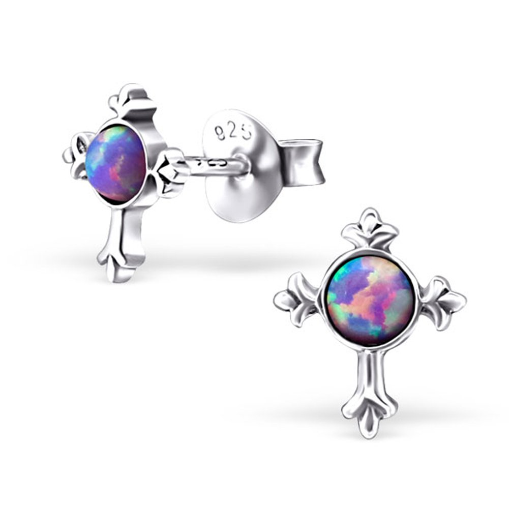 Small Cross Synthetic Opal Silver Earrings Stering Silver 925 Post Studs (E23678) (Multi Lavender)