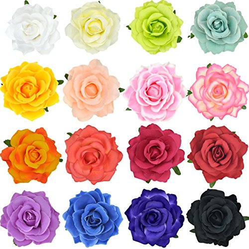 Large Flower Pin - DRESHOW Flower Hair Clip Rose Hairpin Floral Brooch Floral Hair Clips for Women Rose Hair Accessories Wedding Pack 5/16
