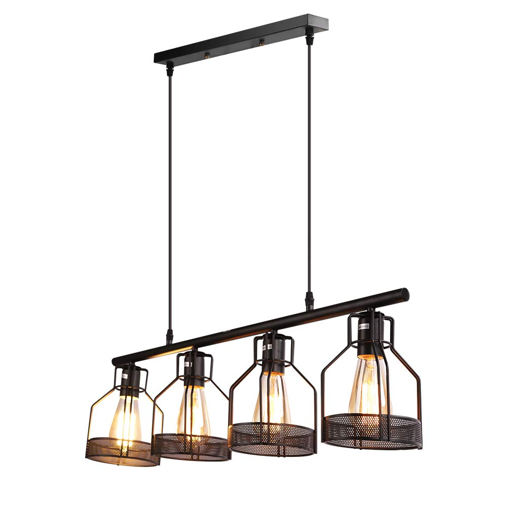 Kitchen Island Lighting 4-Light Pendant Light Fixture with Paint Finish Cage Lampshade Modern Industrial Chandelier by EE Eleven Master (Image #2)