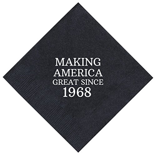 "50th Birthday Gifts Making America Great Since 1968 50th Birthday Party Supplies 50 Pack 5x5"" Party Napkins Cocktail Napkins Black"