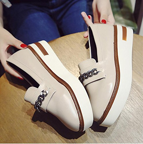 Shoes Square Rising Tide Shoes 37 Versatile Cake Single Version Women Female Sponge Small Student The New Korean Shoes Autumn Thick KHSKX Leather The And Of SwUvWgRFqx